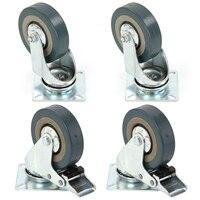 Set Of Heavy Duty 100x27mm Rubber Swivel Castor Wheels Trolley Caster Brake 25KGModel 2 With Brake