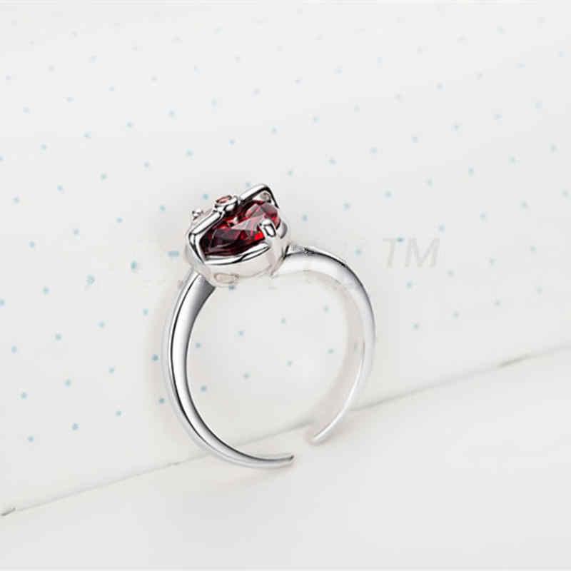 Карманное кольцо Monster Zincon из стерлингового серебра 925 пробы с красным камнем для женщин пары влюбленных друзей подарок аниме косплей ювелирные изделия дропшиппинг