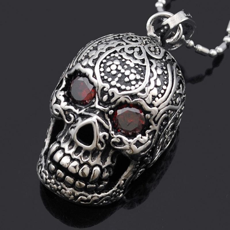 ATGO punk mexické tetování z nerezové oceli lebka přívěsek náhrdelník s červenými očima křišťál kouzlo muži módní šperky pro motorkáře BP515