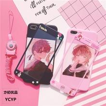 Kochanek dla iPhone XS max / XR Mocha Sakura etui i szkło hartowane z przodu dla iPhone X XS 8 7 Plus 6 6splus cartoon