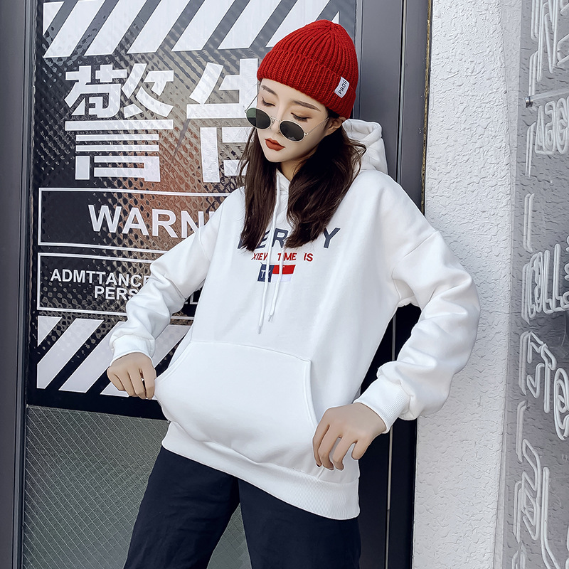 Letter embroidered tide brand Harajuku hoodie female hooded pullover hoodie