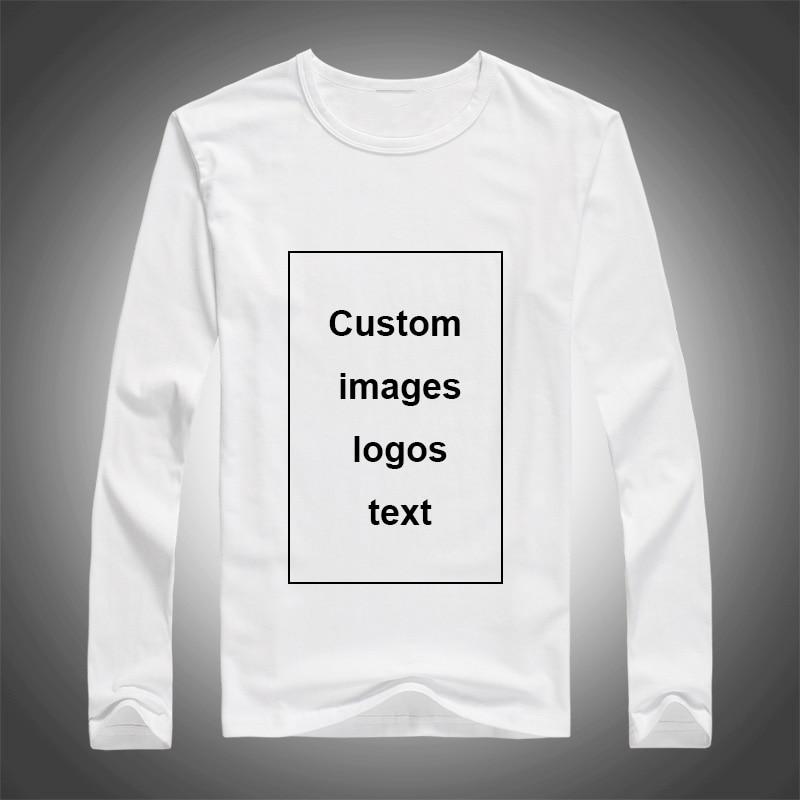 Men Custom Print Long Sleeve T-shirt DIY Your Like Photo Logo Top Tees Size S-3XL Modal Heat Transfer Process