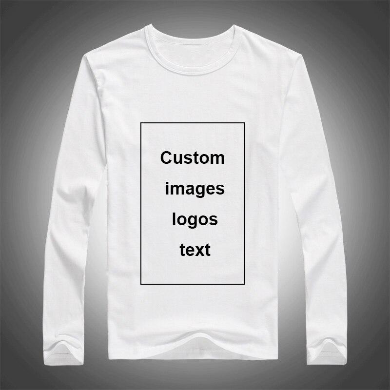Hommes impression personnalisée à manches longues T-shirt bricolage votre comme Photo Logo top t-shirts taille S-3XL Modal transfert de chaleur processus