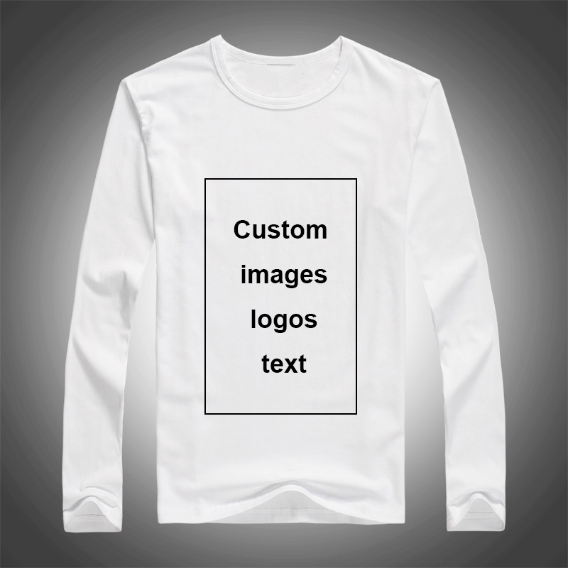 Men Custom Print Long Sleeve T-shirt DIY Your Like Photo Logo Top Tees Size S-3XL Modal Heat Transfer Process