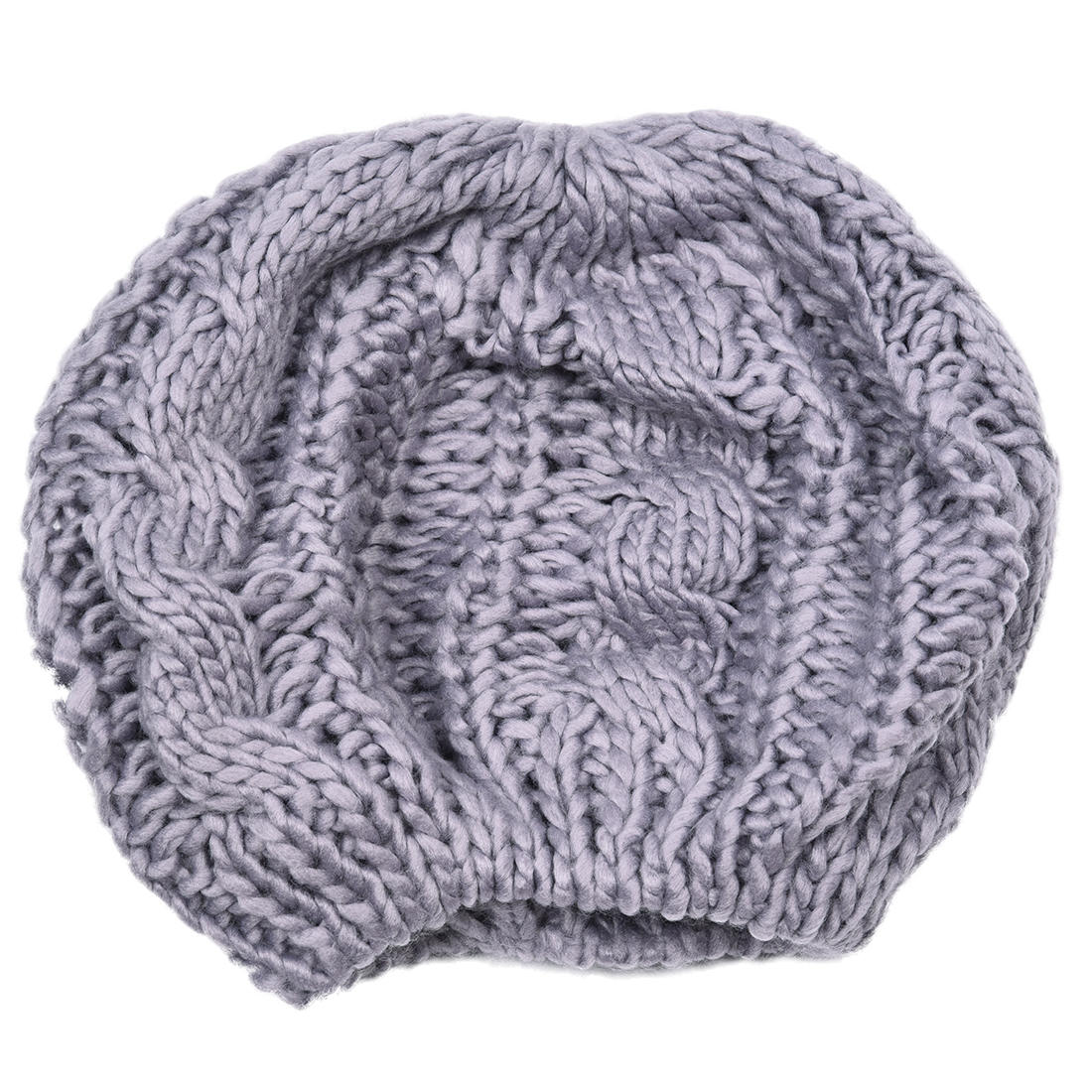 a61720f7c45 NEW Women Baggy Beret Chunky Knit Braided Beanie Hat Cap Light Grey-in  Berets from Men s Clothing   Accessories on Aliexpress.com