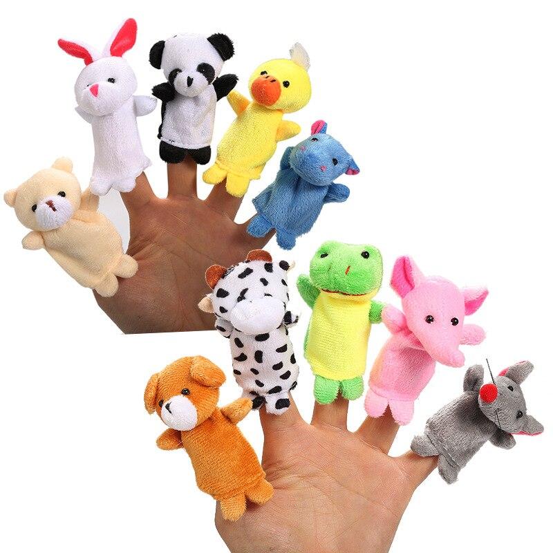 10Pcs/set Animal Finger Puppet Marioneta Puppet Dolls Plush Elephant Panda Bear Hand Doll Learning Baby Toys Fantoche Puppets