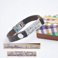 Solid Hand Written Bangle Custom Name Leather Bracelet Personalized Signature Rustic Men Bangle Gift