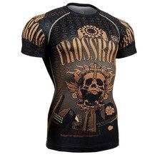 2017 Running Gym Tights Tshirt breathable Men s Compression Shirt coolmax Bodybuilding T Shirt Gold Skulls