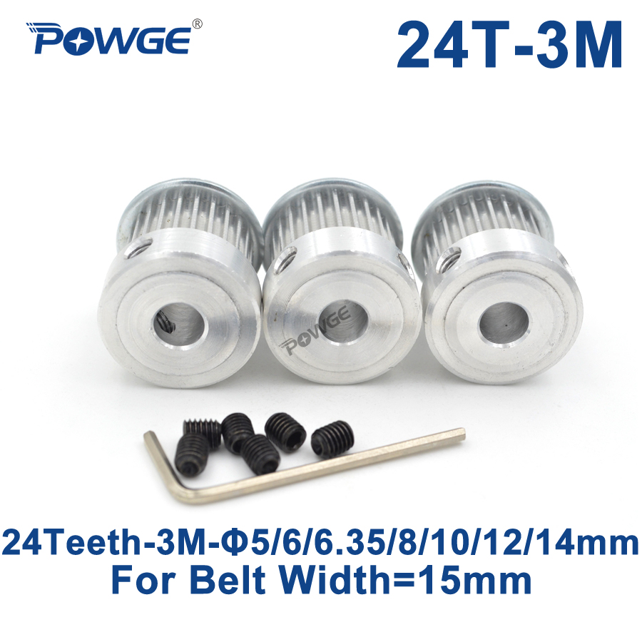 POWGE 3pcs 24 Teeth HTD 3M Timing Pulley Bore 5/6/6.35/8/10/12/14mm for Width 15mm 3M Synchronous belt pulley HTD3M 24T 24Teeth все цены