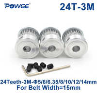 POWGE 3pcs 24 Teeth HTD 3M Timing Pulley Bore 5/6/6.35/8/10/12/14mm for Width 15mm 3M Synchronous belt pulley HTD3M 24T 24Teeth