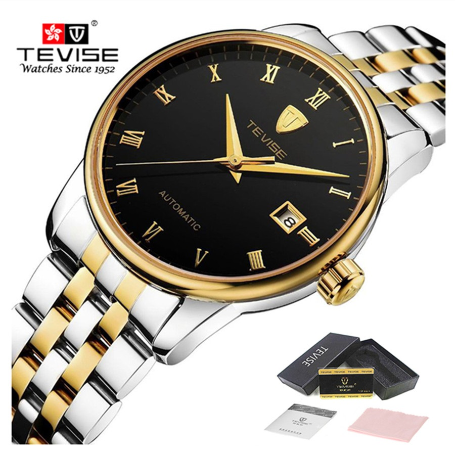 цена на TEVISE Automatic Self-Wind Watch Mechanical Men Gold Stainless Steel Auto Date Mens Waterproof Wrist Watches relogio masculino