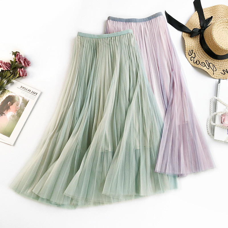 AcFirst Purple Green Women Skirts High Waist Pleated Lace Mid-Calf Length Skirt Mesh Clothing Vintage A-Line Long