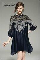 Plus Size Lace Patchwork Embroidery A Line Dress Women O neck Casual Black Women Dress Elegant OL Work Office Laides Dresses