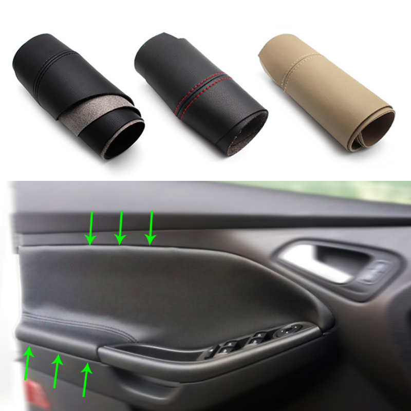 Image 1 - For Ford Focus 2012 2013 2014 2015 2016 2017 2018 2pcs/set Car Door Handle Panel Armrest Microfiber Leather Cover-in Interior Mouldings from Automobiles & Motorcycles