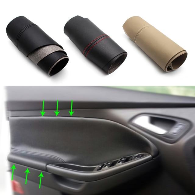 For Ford Focus 2014 2015 2016 2017 2018 2pcs/set Car Door Handle Panel Armrest Microfiber Leather Cover