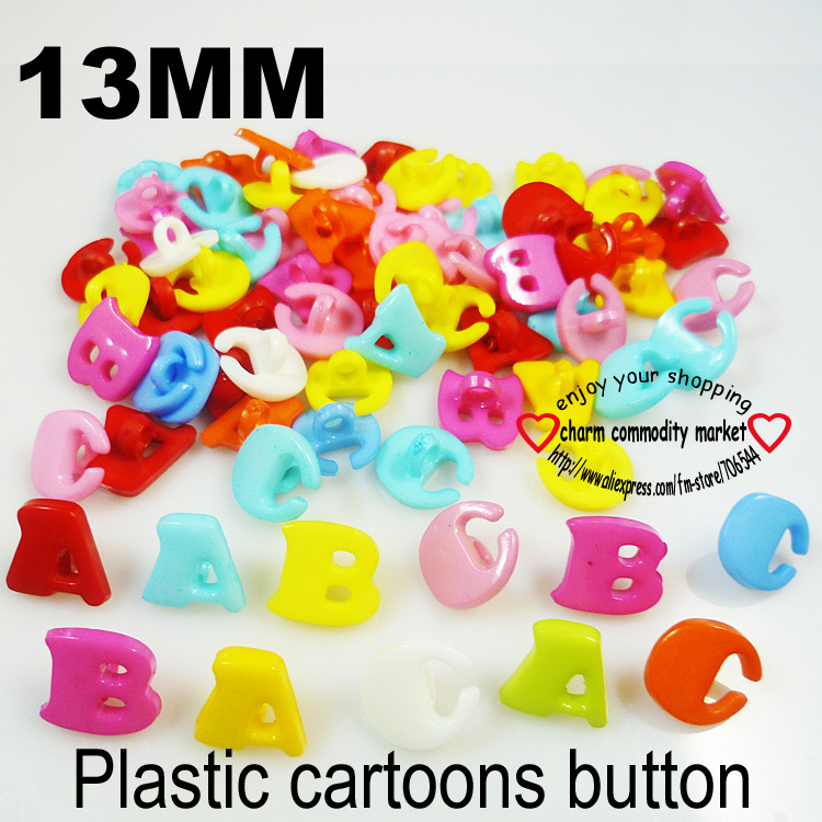 100PCS 13MM Colors Dyed Plastic letter buttons coat boots sewing ...