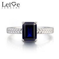 Leige Jewelry Blue Sapphire Ring Promise Ring Emerald Cut Blue Gemstone Solid 925 Sterling Silver Ring