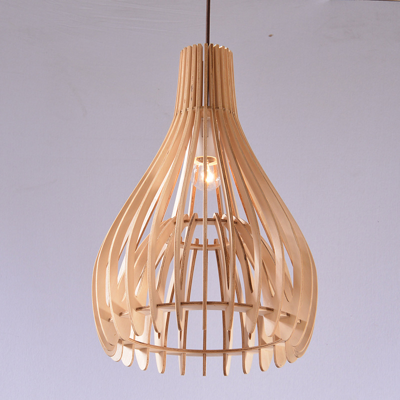 Wood Cage Pendant Lights LED Kitchen Lights LED lamp Nature Hanging Lamp Ceiling Lamps Lighting Fixtures Bedroom Living Room rural countryside vintage pendant lights rectangular nature wood pendant lamps candlestick hanging light fixtures high quanlity