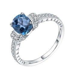Женское кольцо из серебра 100% пробы с натуральным овальным лондонским голубым топазом карата