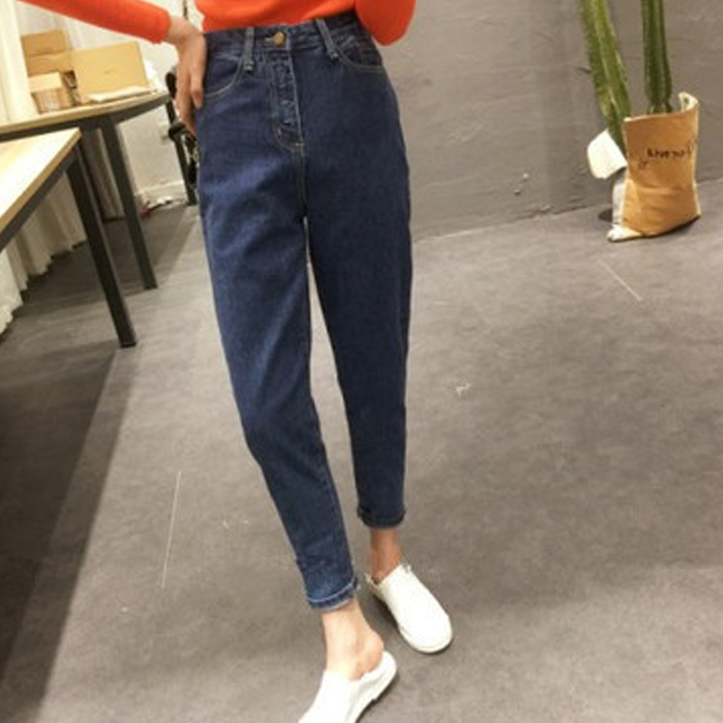 Classic Tapered   Jeans   Women Loose Mom   Jeans   High Waist Denim Pants Relaxed Slim Pencil Pants Casual Denim Mom   Jeans   Trousers