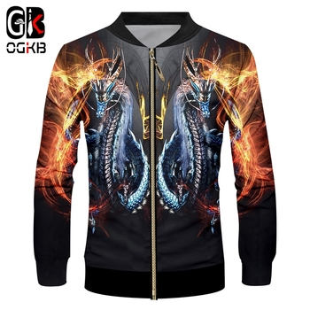 OGKB Fall Winter Casual Jacket Man Hiphop Long Sleeve Stand Collar Zip Jackets Printed Fire Dragon 3D Coat Man Fit Slim Overcoat цена 2017