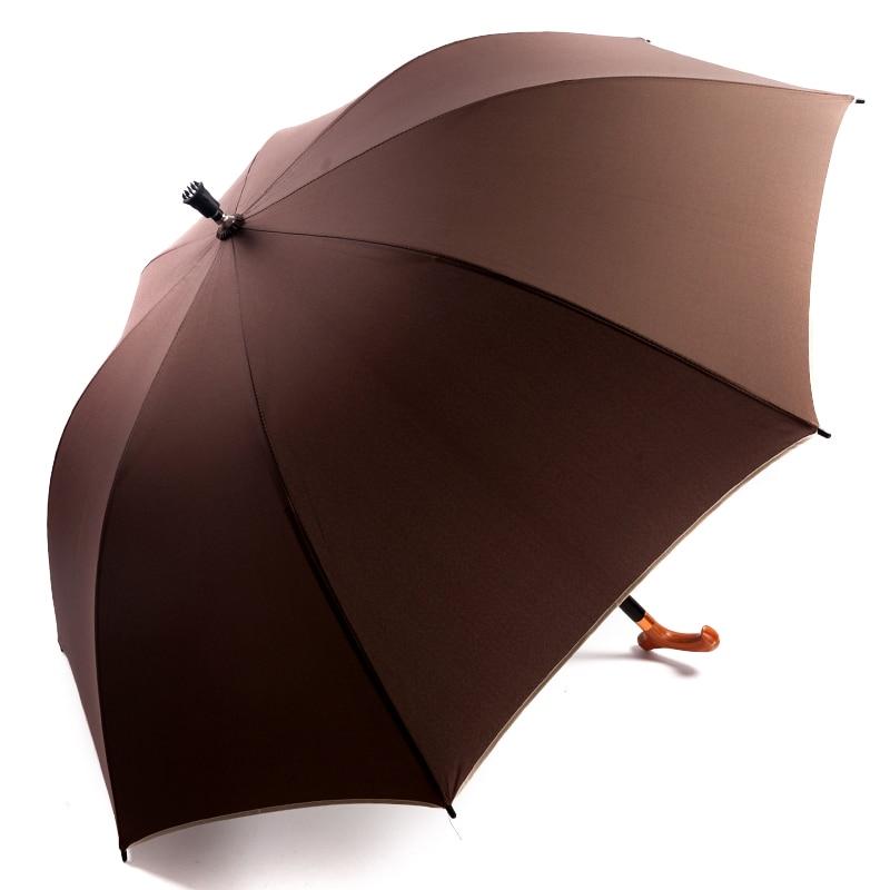 Multifunctional Brown Walking Stick Umbrella Creative Long Handle Windproof Umbrella Outdoor Portable Mountaineering Parachute