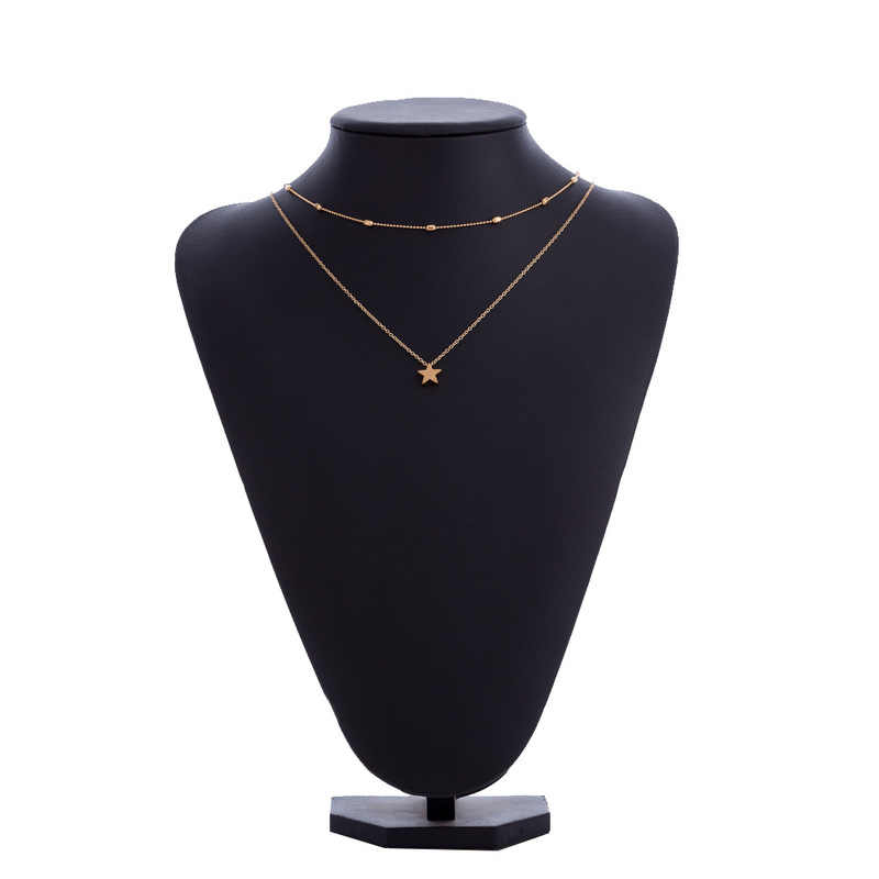 QingWen moda oro plata Color joyas amor corazón collares colgantes gargantilla de cadena doble collar mujer joyería regalo CA3055/W