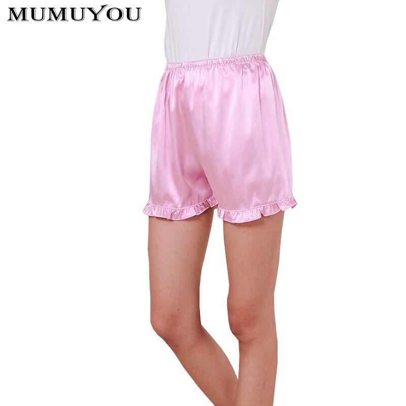 Women Faux Silk Casual Sleep Bottoms Solid Ruffled Mid Waist 7 Colors Elastic Waist Short Sleep Pants Plus Size S-3XL 035-022