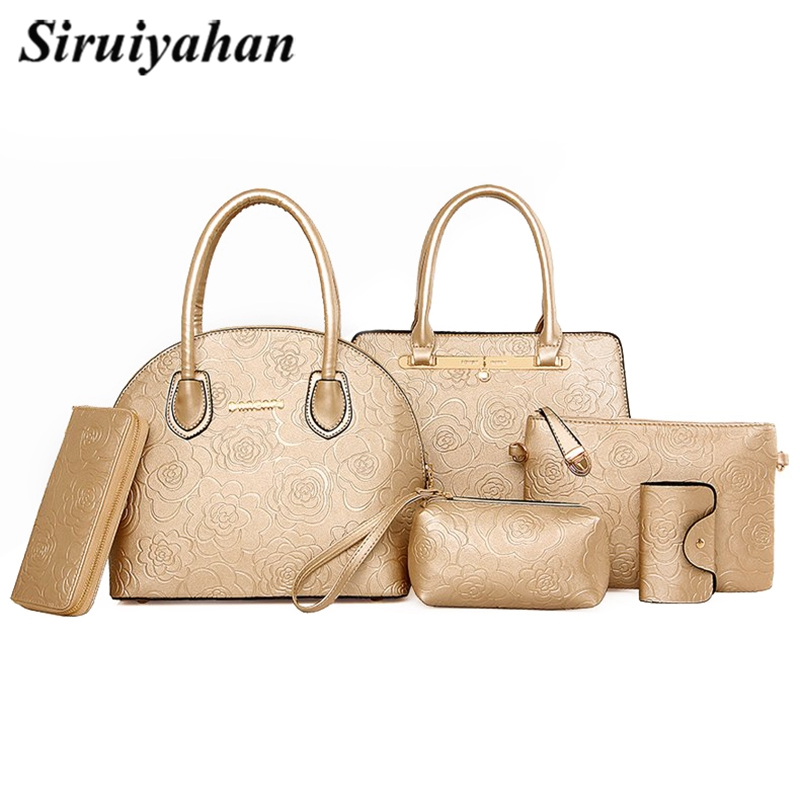 6pcs Leather Bags Handbags Women Famous Brand Shoulder Bag Female Casual Tote Women Messenger Bag Set Bolsas Feminina Crossbody 2017 woman bag fashion designers famous brand bolsas femininas casual bag v metal tote leather bag lady crossbody shoulder bags