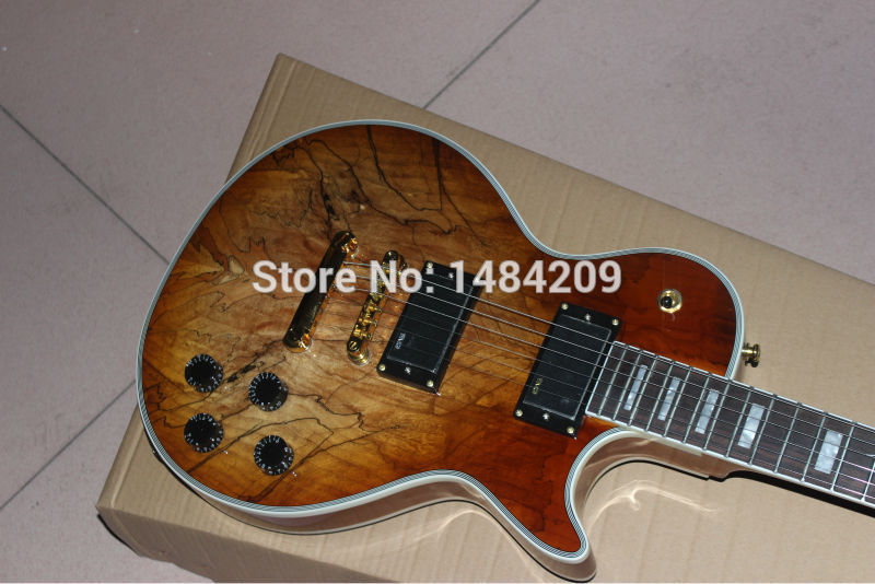 Vicers Custom Electric Guitar, Body with Spalted Maple Top, Light Burst with gold color  hardware custom shop china lp electric guitar in desert burst color quilted top guitar body lefty custom available