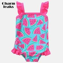 Charmleaks Baby Girls One Piece Swimsuits Watermelon Fruit Printed Swimwear Ruffle Kids Cute Bikini Beach Wear