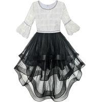 שמלת ילדה פרח תחרות ריקודי מסיבת Hi-lo לבן ושחור 2017 גודל בגדי ילדה שמלות קיץ נסיכת שמלות כלה 6-14