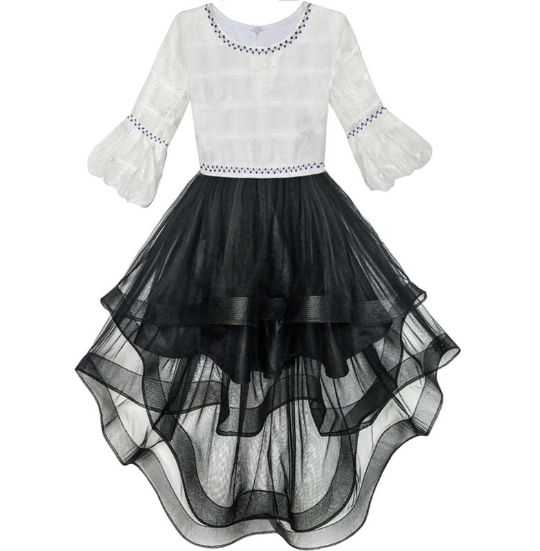 Flower     Girl     Dress   White and Black Hi-lo Party Dancing Pageant 2018 Summer Princess Wedding   Dresses     Girl   Clothes Size 6-14