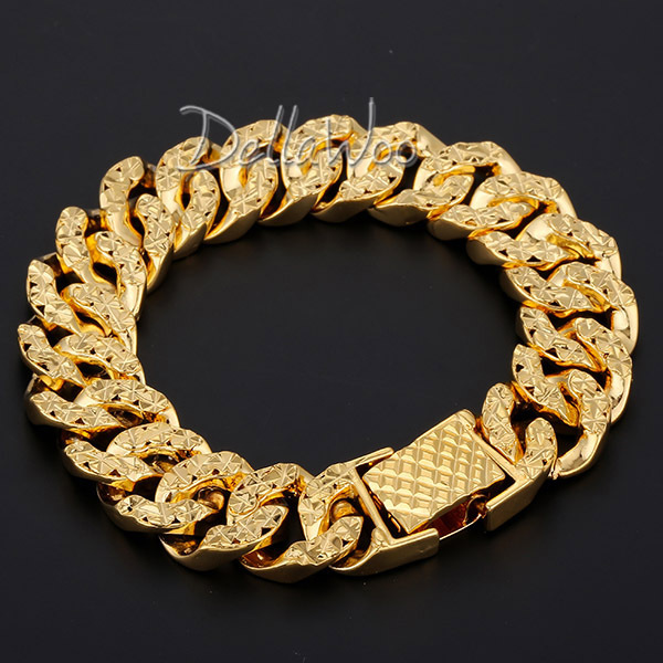 New 14mm Mens Chain Womens Bracelet Shiny Yellow Gold Filled Hammered Curb Link Fashion