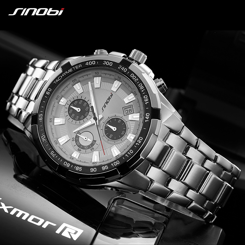 SINOBI Luxury Brand Men Full Steel Sport Watches Men's Quartz Analog Clock Man Waterproof Wrist Watch Dress Relogio Masculino sinobi men s top luxury brand sport watches men led digital waterproof stainess steel quartz watch man clock relogio masculino