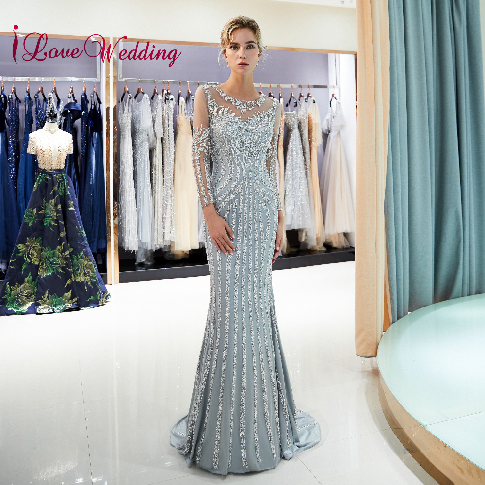 Formal Dress 2019 Sheer Neck Heavy Beaded Long Sleeves Evening Gowns Custom made Mermaid Sweep Train