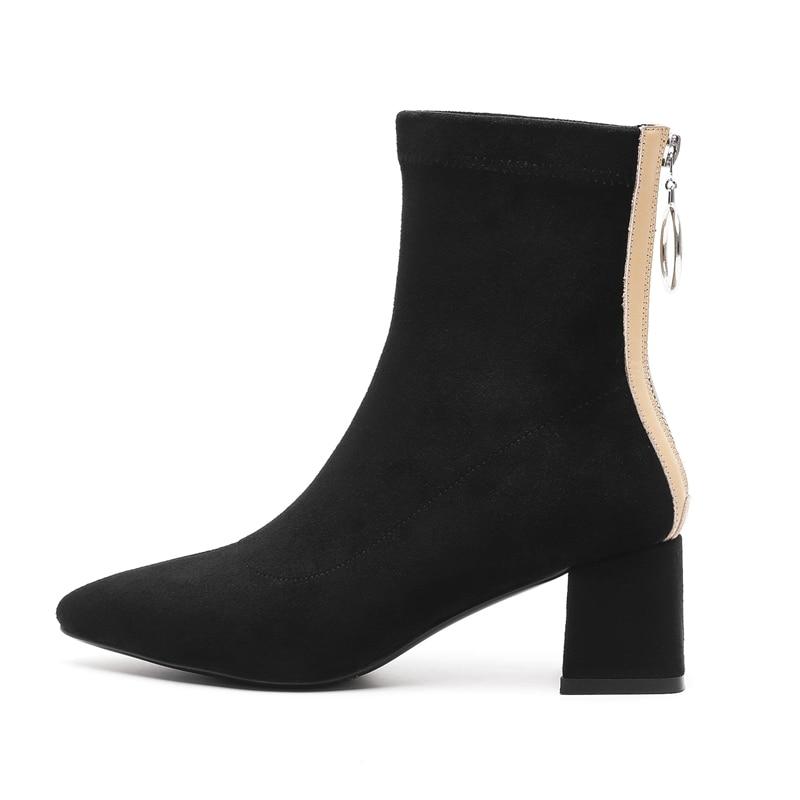 Femmes 40 De Grande Black Anmairon Pointu 34 Bout Pour Zapatos Bottines Bottes Ly122 Taille D'hiver khaki Mujer sdthrCQ