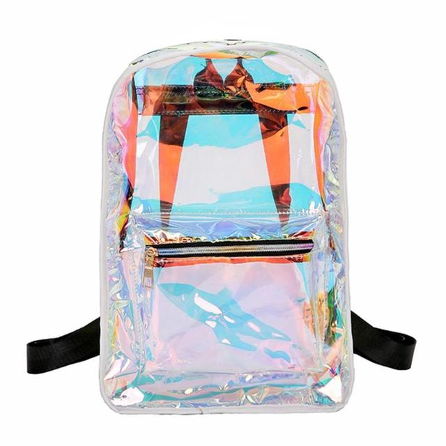Street Women PVC Clear Laser Hologram Backpack Girls Casual Shoulder Bags School Backpack Mochila Feminina Travel Bag