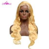 Али Коко 613 блонд кружева спереди al парики 130% предварительно сорвал с детскими волосами тела волна бразильские человеческие волосы кружева
