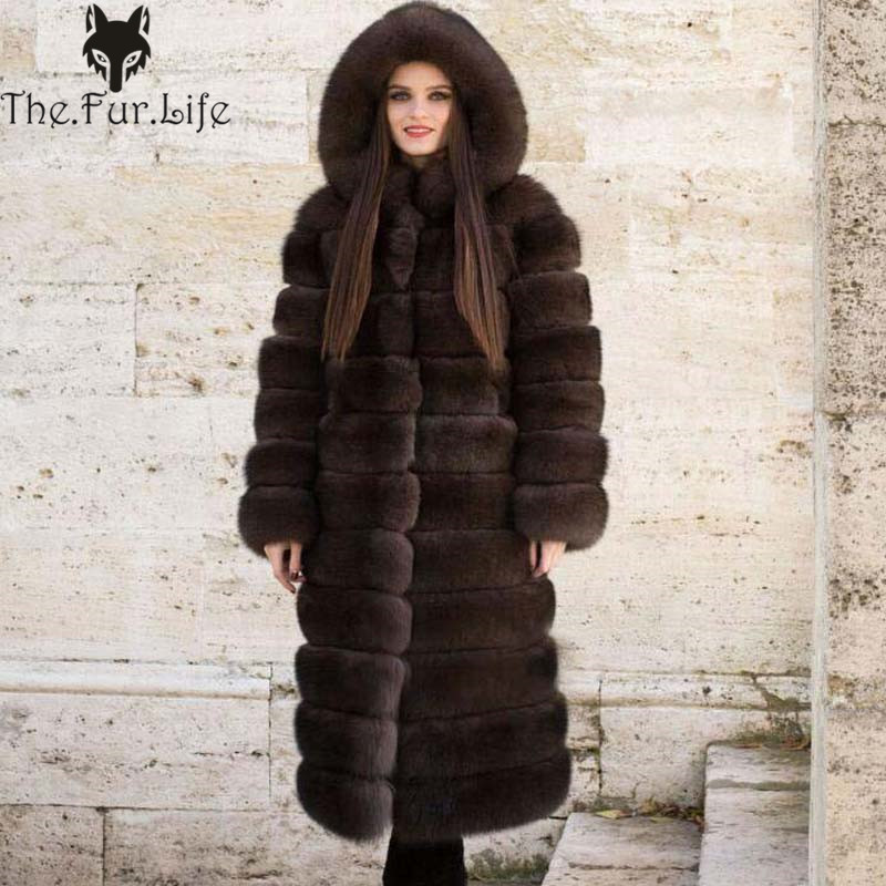928f317208 Real Fox Fur Coat Detachable Style With Hood Long Sleeve Natural Sable  Color Fox Fur Coat Women Winter Fur Jacket Luxury Coat