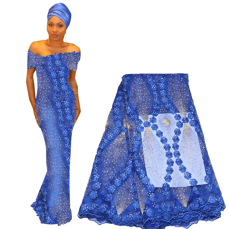 Best Selling Lace Fabric 2019 Embroidered Nigerian African Wedding Lace Fabric High Quality Heavy Beaded French Tulle Lace