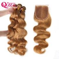 #27 бразильская объемная волна человеческих волос Связки с 4x4 кружева закрытие Мёд блондинка Реми Weave 3 Связки с закрытием Мечтая queen