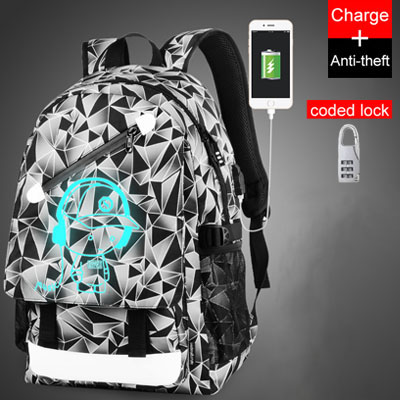 Back to School Backpack Student Luminous Animation USB Charge Changeover Joint High School Bags Teenager anti