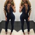 Тонкий моде джинсовые комбинезон комбинезон женщины выдалбливают рукавов джинсовые комбинезоны плюс размер сексуальный женский комбинезон roupa feminina