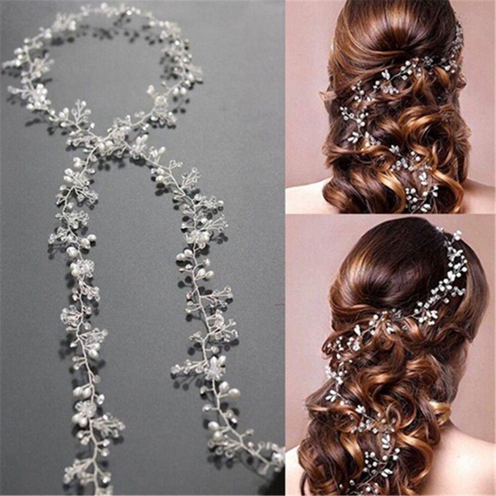 Main Blanc Perle Cristal De Cheveux De Mariage Vigne Cristal De Mariée Accessoires Diamante Bandeau DIY Bijoux Accessoires Nouveau