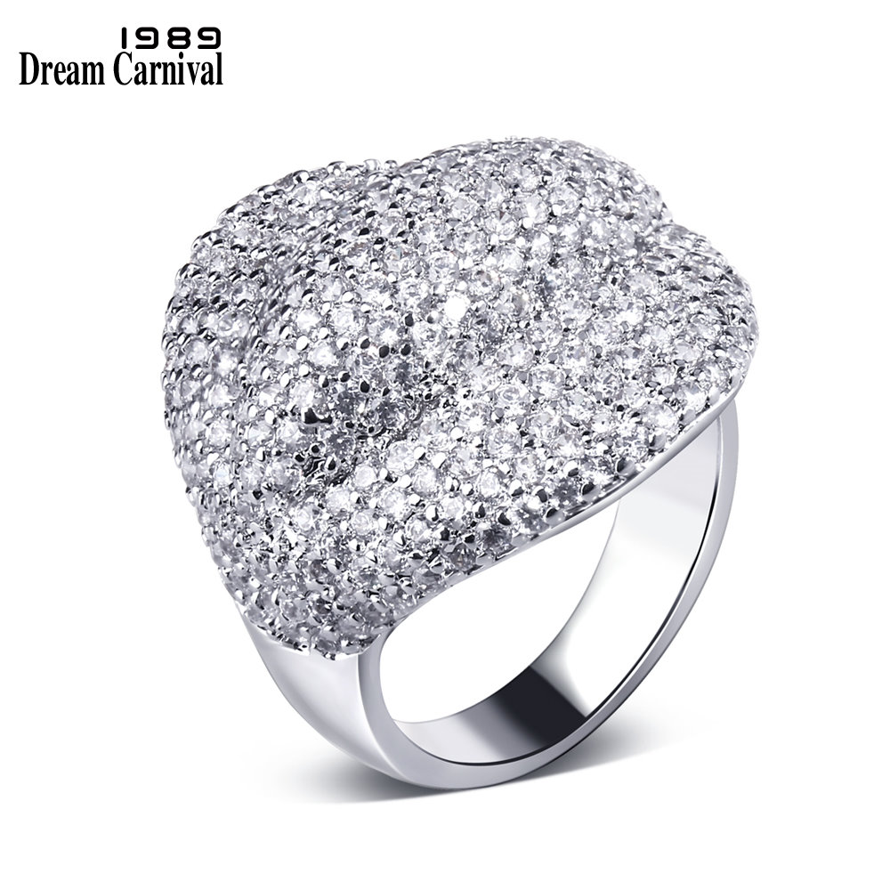 DreamCarnival 1989 Full Zircon CZ Stones Luxury Jewellery Clearance Sales Big Discount Engagement Deluxe Ring for Women SJ08678(China)