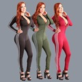 Fashion bodysuit women 2016 new autumn winter 3 colors long sleeve elasticity patchwork zipper skinny sexy club bodycon jumpsuit