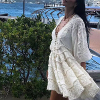 Designer Boutique Dress Women High Quality Stunning Sexy V neck Puff Sleeve Embroidery Crochet Holiday White Linen Dress 2018