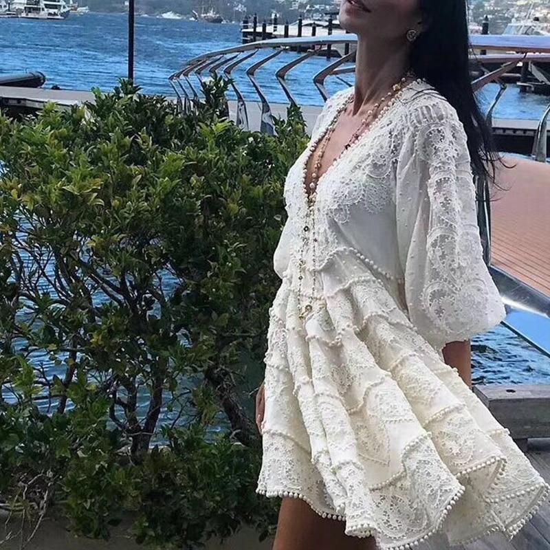 Designer Boutique robe femmes de haute qualité superbe Sexy col en v manches bouffantes broderie Crochet vacances blanc lin robe 2018
