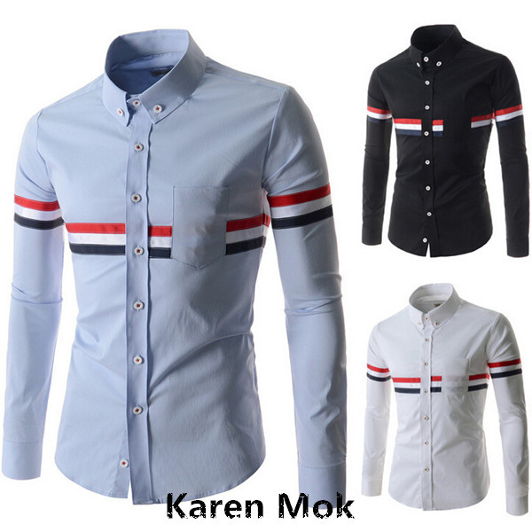 2015 New Stripe Brand Men S Dress Long Sleeve Shirts Contrast Color